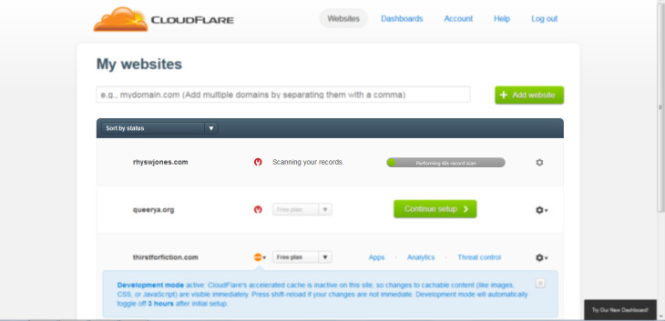 Step 2: Cloudflare takes about a minute to scan your DNS records/site